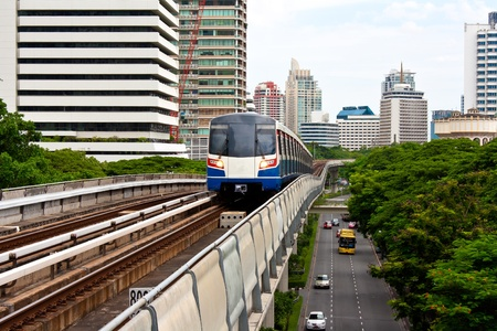 Sky train in Bangkok  with building construction. Stock Photo - 11543103