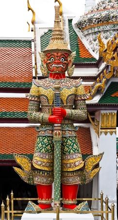a cudgel: Demon Guardian Wat Phra Kaew Grand Palace Bangkok