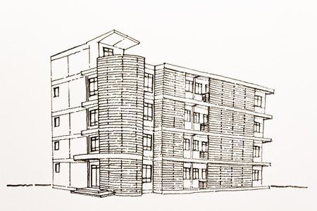 Three directions office building architectural wire-frame plan