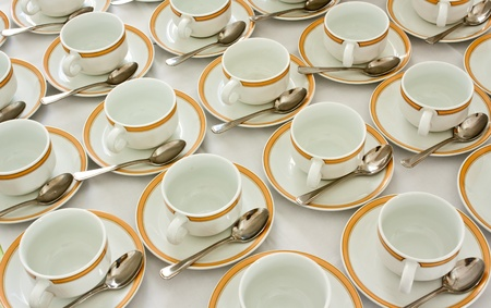 Many rows of coffee cup and saucer with teaspoon Stock Photo - 13509638