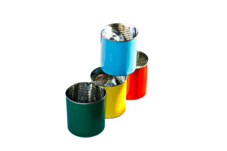Colorful empty cans   red blue yellow and green  isolate on white photo