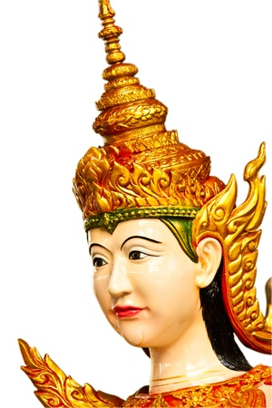 thai dancing: Face of Thai dancing girl sculpture isolate on white
