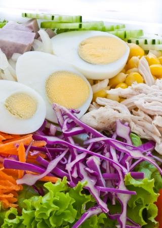 Close up healthy food fresh vegetable salad  with egg and chicken photo
