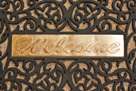 The  Welcome  word of a welcome door mat Stock Photo - 18135167