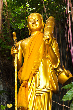 Golden standing Buddha statue in the forest photo