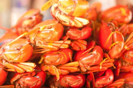 flesh eating animal: Stack of sea crabs at Amphawa floating market Thailand Stock Photo