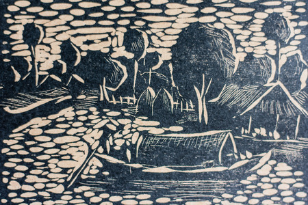 woodcut: Woodcut style expressionist rural of Thailand