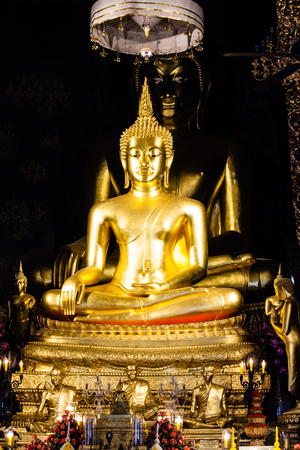 Golden Buddha statue in the church, Thailand