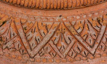 Closeup Thai pattern design of earthenware pottery