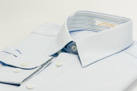 shirt collar of light blue shirt isolate on white Stock Photo