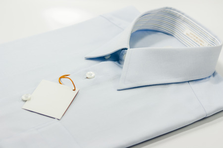 shirt collar of light blue shirt isolate on white Stock Photo
