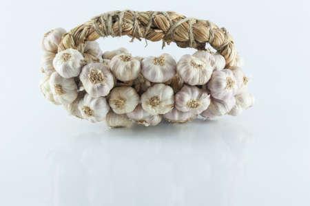 Garlic in bundles dried, Garlic braid isolated on white background