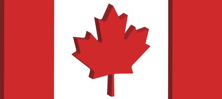 perpective: close up three dimensional perpective of Canadas national flag Stock Photo