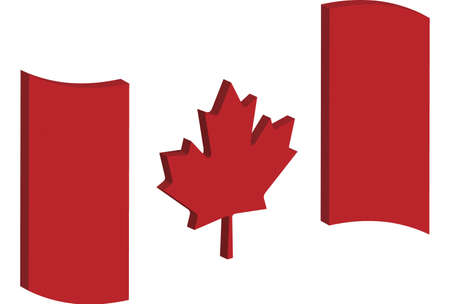 raise the white flag: abstract three dimensional perspective of Canadas national flag