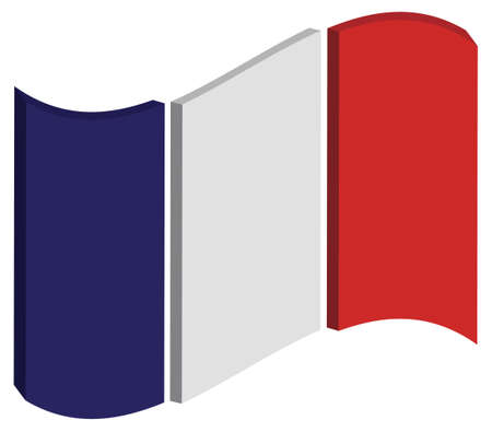 french flag: abstract three dimensional perspective of Frances national flag Stock Photo