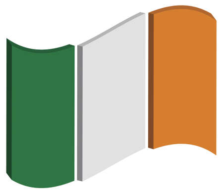 raise the white flag: abstract three dimensional perspective of Irelands national flag
