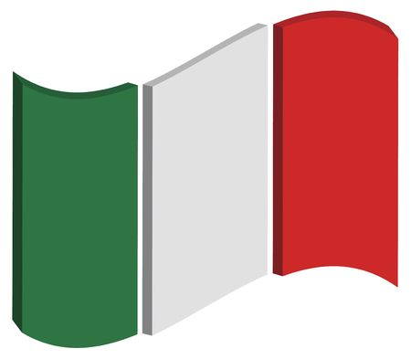 raise the white flag: abstract three dimensional perspective of Italys national flag