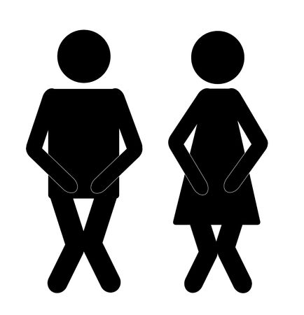 powder room: funny male and female bathroom sign, black on white