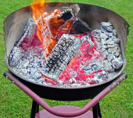 burning wood and charcoal on barbecue in the backyard