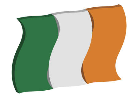 irish pride: dancing three dimensional perspective of Irelands national flag
