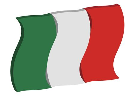 raise the white flag: dancing three dimensional perspective of Italys national flag Stock Photo