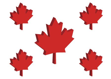 raise the white flag: three dimensional perspective of five Canadian maple leaves
