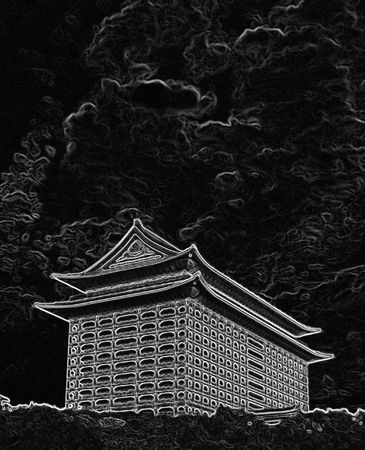 spellbinding: glowing illustration of asian temple against a fiery sky Stock Photo