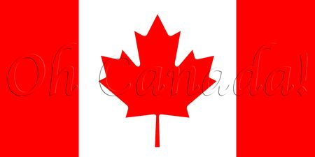 raise the white flag: national flag of Canada with text overlay Oh Canada!