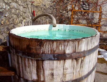 outdoor rustic hottub found at mountain spa Stock Photo - 1350987