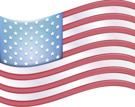 raise the white flag: illuminated waving flag of the United States