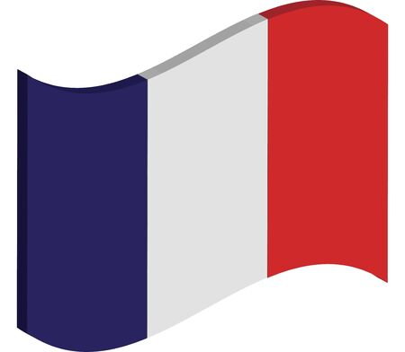 french flag: waving three dimensional perspective of Frances national flag