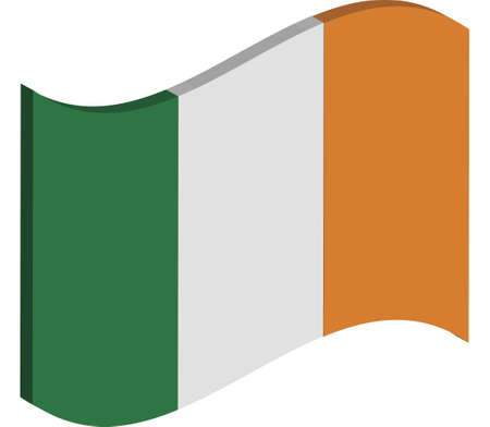 raise the white flag: waving three dimensional perspective of Irelands national flag Stock Photo