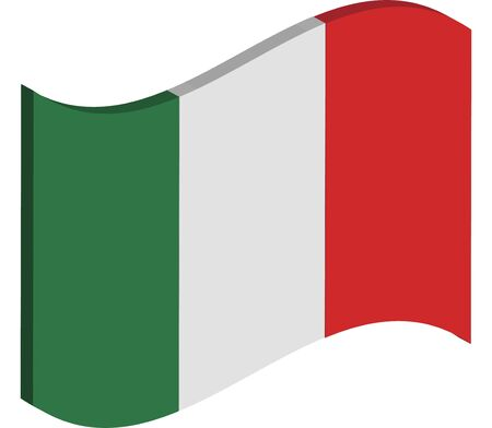 raise the white flag: waving three dimensional perspective of Italys national flag Stock Photo