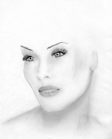 美しい女性の顔の手描き鉛筆スケッチ