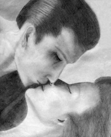 hand drawn pencil sketch of manand woman kissing photo