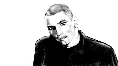 hand drawn pencil sketch of man in a leather jacket photo