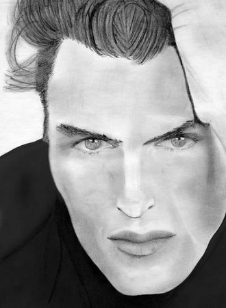 facial expression: hand drawn pencil sketch of beautiful man