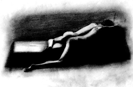 intimate: hand drawn pencil sketch of man in a dark room