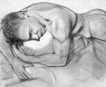 face covered: hand drawn pencil sketch of man in bed