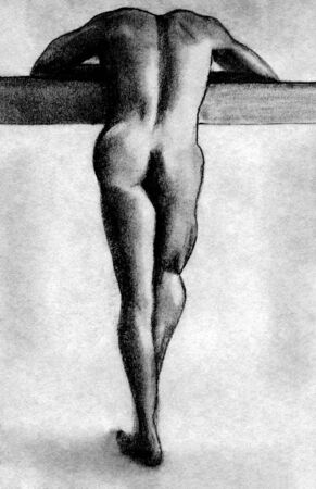 nude male: hand drawn pencil sketch of standing man
