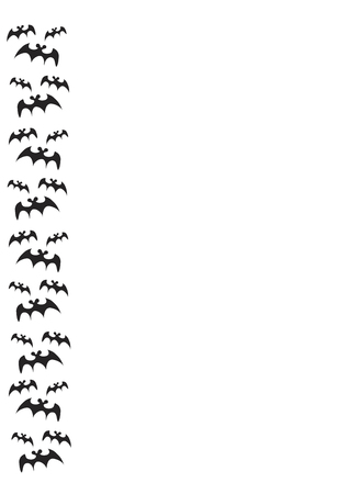 haunting: halloween border with black bats on white background