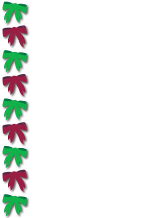 christmas border with red and green bows on white background