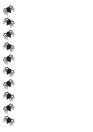 Halloween frontière avec araignées noires sur fond blanc  Banque d'images - 1415471
