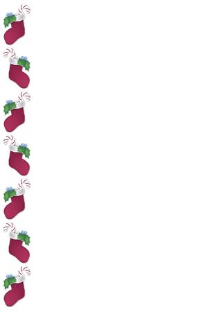 christmas border with stuffed stocking on white background
