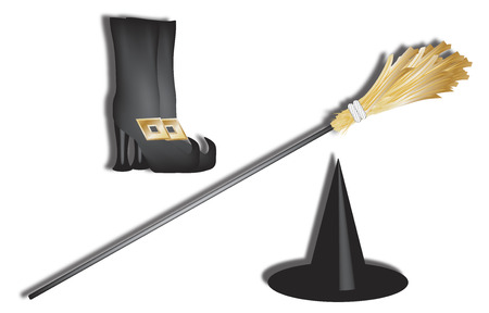 3d perspective of halloween witch accessories photo