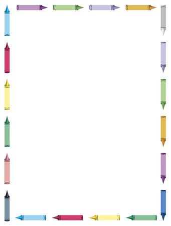 color image creativity: frontera de crayones de colores en fondo blanco