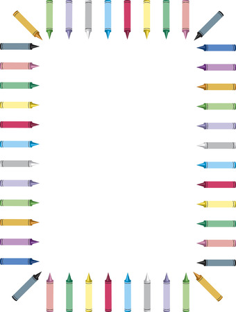art and craft equipment: frontera de crayones de colores en fondo blanco