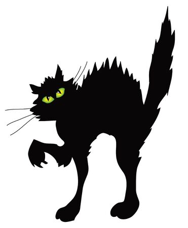 lurking: arching black cat with green eyes on white background Stock Photo