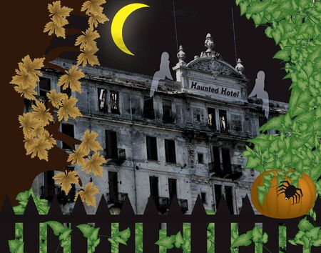 haunted hotel halloween scene with pumpkin and ghosts photo
