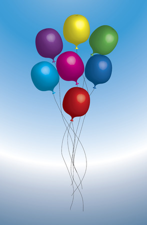 group of colourful balloons floating on blue background